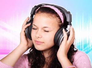Girl is listening to binaural beats