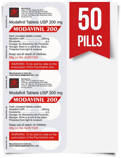 Modavinil 200 mg x 50 Pills